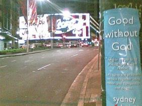 Poster good without God on telegraph pole